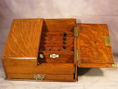 Oak Stationary Cabinet English Antique Victorian Correspondence Writing Box 1890
