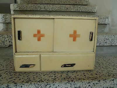 Old  Vintage  Wooden Red Cross  Medicine Cabinet Apothecary  Wall Chest  Marked