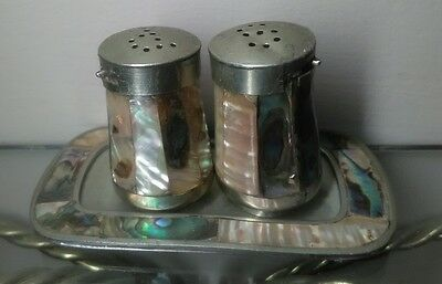 Vintage Abolone shell salt and pepper shakers Mother of Pearl set with tray