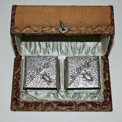 1882 Pair Wood & Hughes Coin Silver Napkin Rings, Insects, Boxed