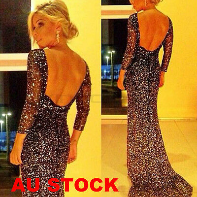 AU Women's Backless Sequin Wedding Bridesmaid Cocktail Party Gown Evening Dress