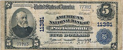1902 $5 American NB of Portsmouth Virginia Ch#11381 Fine National Currency
