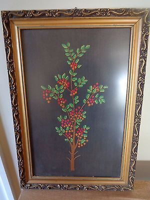 hand embroidery fruit tree framed