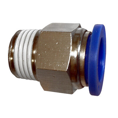 Pneumatic male straight connector push in fitting (PC) Ø 10mm with thread BSPT
