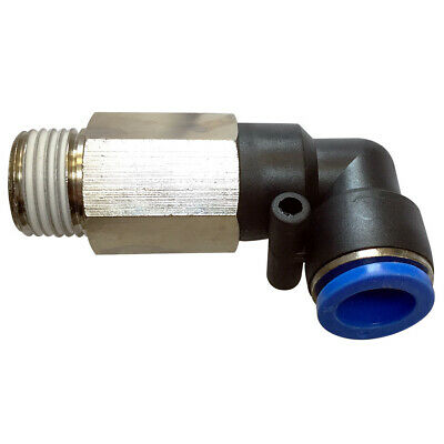 Pneumatic 90° angle extended Male elbow push in fitting (PLL) Ø 10mm with thread