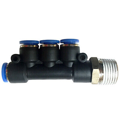 Pneumatic male triple union push in fitting (PKB) Ø 4mm with thread M5