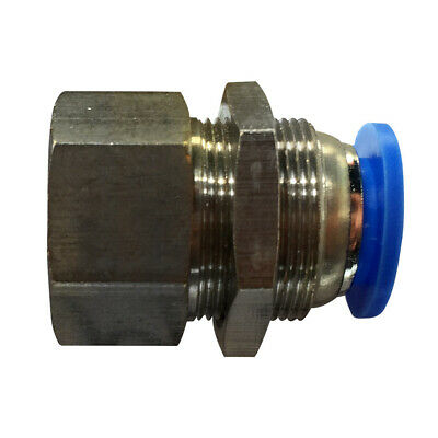 Pneumatic bulkhead female straight push in fitting (PMF) Ø 10mm with thread BSPT
