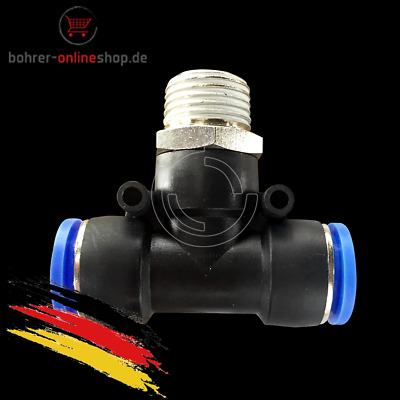 """Pneumatic push in T-fitting (PB) Ø 8mm with thread BSPT R3/8"""""""