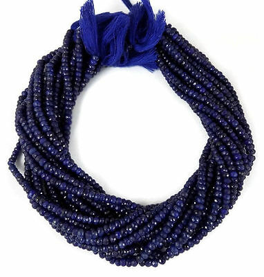 "1 Strand Corundum Blue Sapphire Faceted Rondelle Bead 3.5-5mm 13.5"" Long Strand"