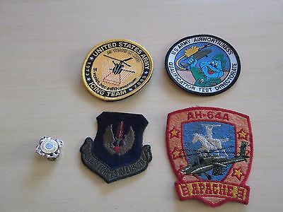 Lot of Vintage Military Embroidered Patches and United States Coast Guard Pin