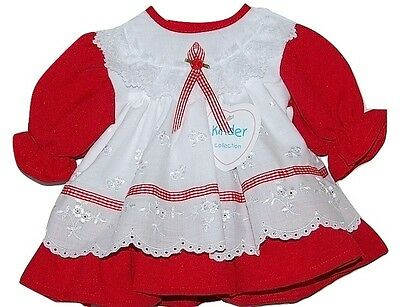 Baby Girls Traditional Red White Broderie Anglaise & Lace Dress 3-6 Months