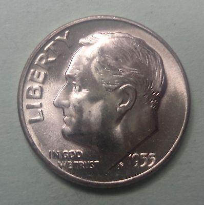 1955 S Roosevelt Dime BU Uncirculated 90% Silver US Coin TUCK From Original Roll