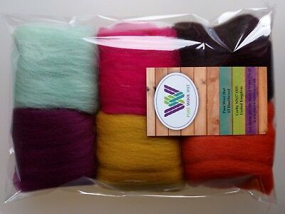 October* Pure Wool Tops for felting 6 colours set, 30g