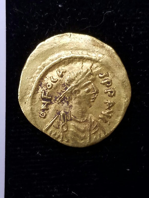 Byzantine Gold Coin Phocas 602 to 610 AD Gold Tremissis