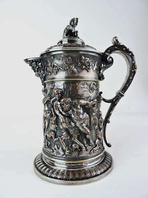 19th Century Cast Silver Plated Large Flagon, circa 1870. Maker: Hukin & Heath