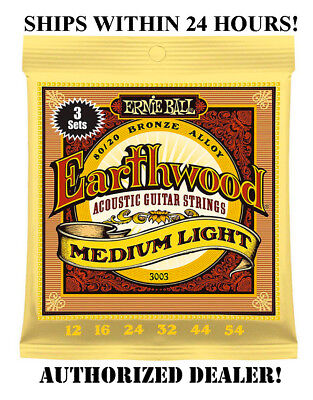 3 Sets Ernie Ball 2003 Earthwood Med Light Acoustic Guitar Strings 12-54 (3Pack)