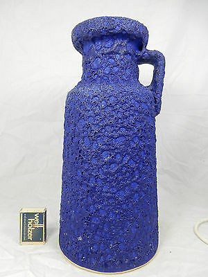 Huge 70´s design Silberdistel Keramik pottery blue Fat Lava jug vase 327 / 30