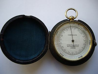 Superb H.hughes & Sons Gilt Pocket Barometer & Altimeter + Case: Fully Working