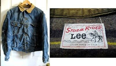VTG - Lee's Storm Rider Denim Coat - Blanket Lining - Distressed - USA See Meas.