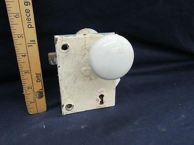 Antique Victorian White Porcelain Door Knob Lock Set Old Vintage Hardwarwe