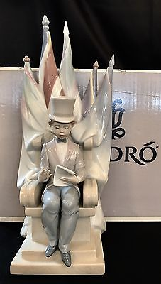 "~RARE~Lladro ""For a Better World"" (6186 Mint in Box) Kid/Boy with American Flag"