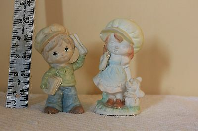 Porcelain Ceramic Paper Boy and Girl Figurines Lot of 2