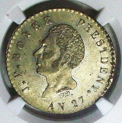 An 27(1830) Haiti J P Boyer Silver 100 Centimes Ngc Ms-61 Very Nice