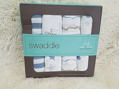 Aden + anais Muslin Collection Swaddle 4-pack Muslin  Baby Boy new rockstar