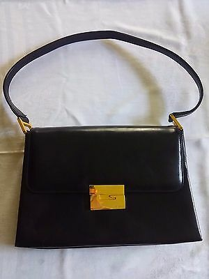 b08b2731260 VINTAGE GUCCI BLACK Leather Purse Handbag Classic 50 s Style Fashion ...