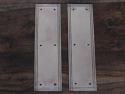 "Fine Pair of Original Edwardian Antique Brass Door Finger Plates 12"" x 3.5"""