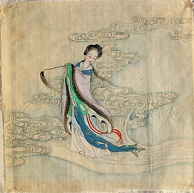 Stunning Small Antique Chinese Watercolor Painting Late 19Th/early 20Th C.