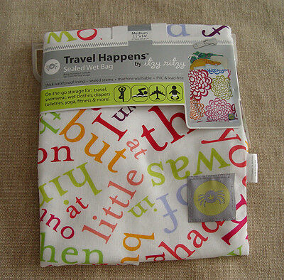 Itzy Ritzy~Travel Happens~Sealed Wet Bag~Word Soup~Medium~NWT