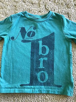 Gap Baby Boy Toddler Green Long Sleeve Shirt #1 Bro Size 18-24M