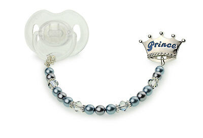 Blue Crown with Blue Swarovski Pearls and Crystals with Sterling Silver Daisies