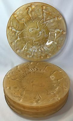 Consolidated Glass Martele Dancing Nymph Honey Yellow Art Deco Plate Set of 6