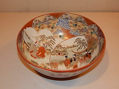"Japanese Signed Kutani Bowl, Geisha & Landscape, Great Color, 10 7/8"" Diameter"