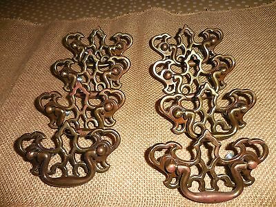 ** Vintage ** CANADA Brass Drawer Handle Pulls ** Victorian Ornate SET OF 8