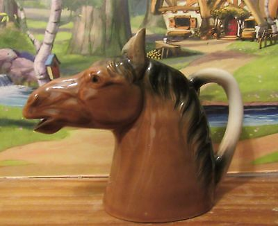 Vintage Horse Head Figural Creamer Pitcher Ceramic Figurine made in Japan