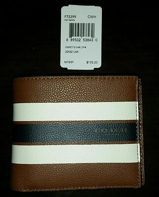 NWT Coach Men Leather Compact Id Wallet F75399 Dark Saddle