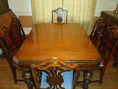 Burnham walnut dining set 11 pieces early 1900s -- single family owned