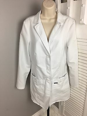 Grey's Anatomy Women's Medium 32 Inch Two Pocket Fitted Lab Coat White