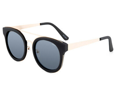 Quay Australia Unisex Round Brooklyn QU-000108 Sunglasses - Black/Smoke