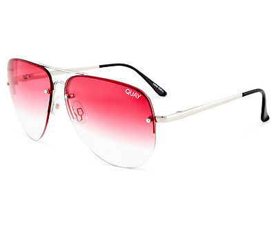 Quay Australia Women's Aviator Muse Fade QU-000178 Sunglasses - Silver/Red