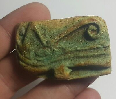 Rare Ancient Egyptian faience EYE OF HORUS amulet B New Kingdom (1549–1069 BC)