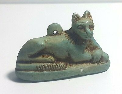 Rare Ancient Egyptian faience BASTET  CAT Amulet New Kingdom (1549–1069 BC)