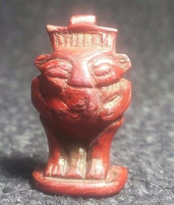 Rare Ancient Egyptian Red Faience glass god of BES Amulet (1549–1069 BC