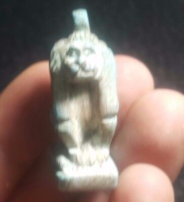 Rare Ancient Egyptian faience  BABOON b Amulet 1549–1069 BC