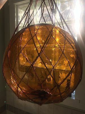 "Amber Reproduction Blown Glass Float Fishing Net Buoy Ball Decor 10"" Dia."