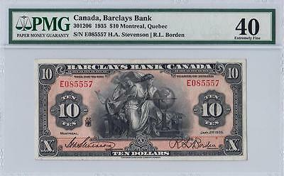 1935 Barclays Bank Canada $10 **montreal** (( Pmg 40 Ef ))