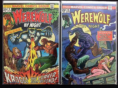 WEREWOLF BY NIGHT Lot of 2 Marvel Comic Books - #8 18!